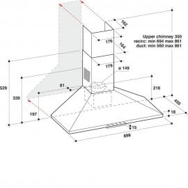 HOTTE PYRAMIDALE 90 CM INOX WHIRLPOOL